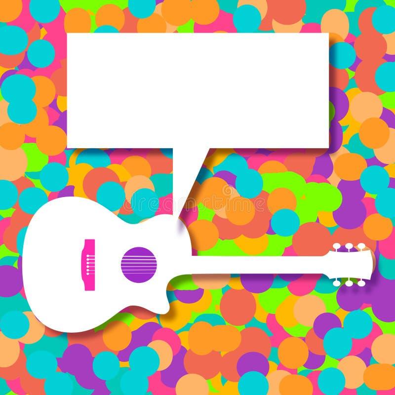 Fundo da música com uma guitarra acústica genérica ilustração royalty free