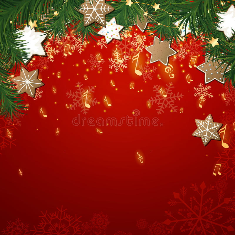 Fundo da música do Natal ilustração stock