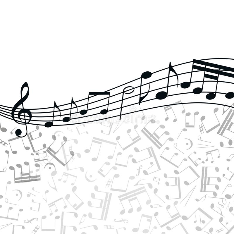 Fundo da música do vetor: melodia, notas, chave ilustração stock