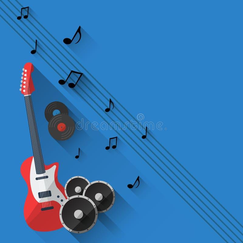 Fundo da música do vetor no projeto liso do estilo ilustração stock