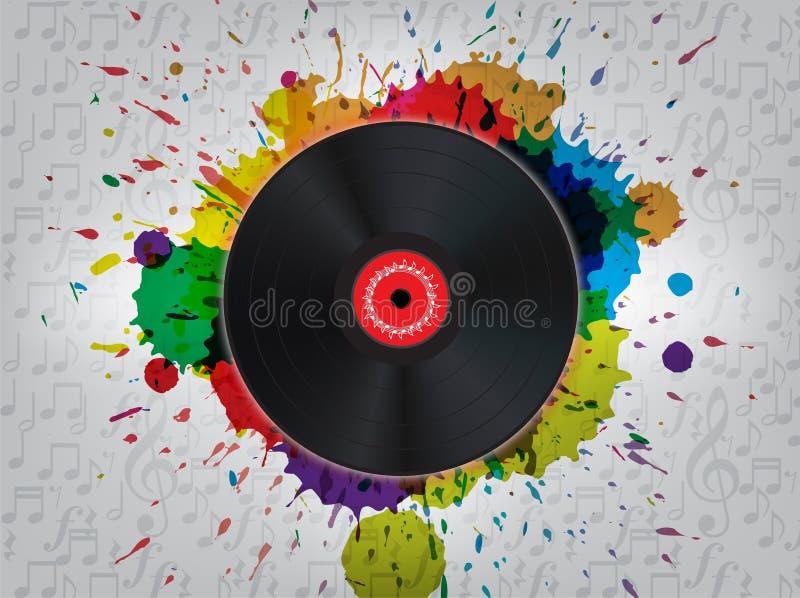 Fundo da música do vinil do Grunge ilustração royalty free