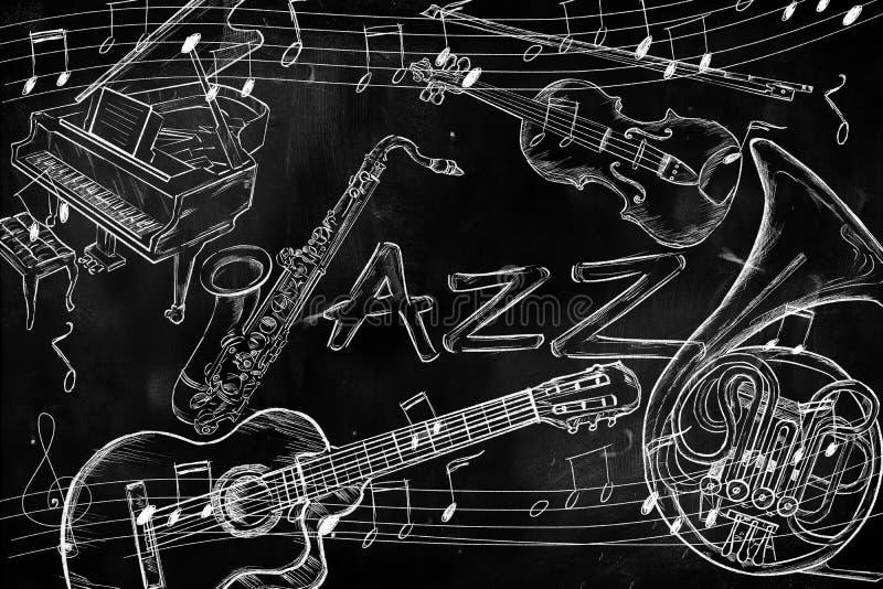 Fundo da música dos instrumentos do jazz ilustração royalty free