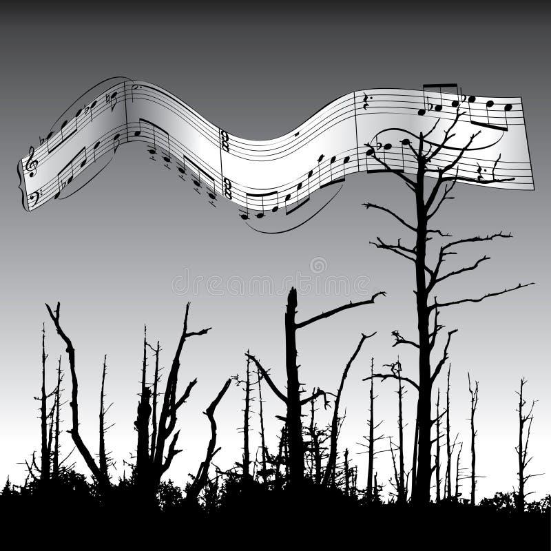 Fundo da música e da natureza ilustração do vetor