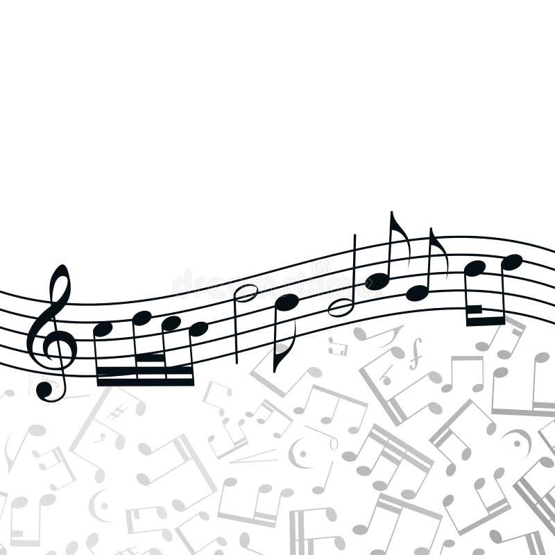 Fundo da música da onda do vetor: melodia, notas, chave ilustração do vetor