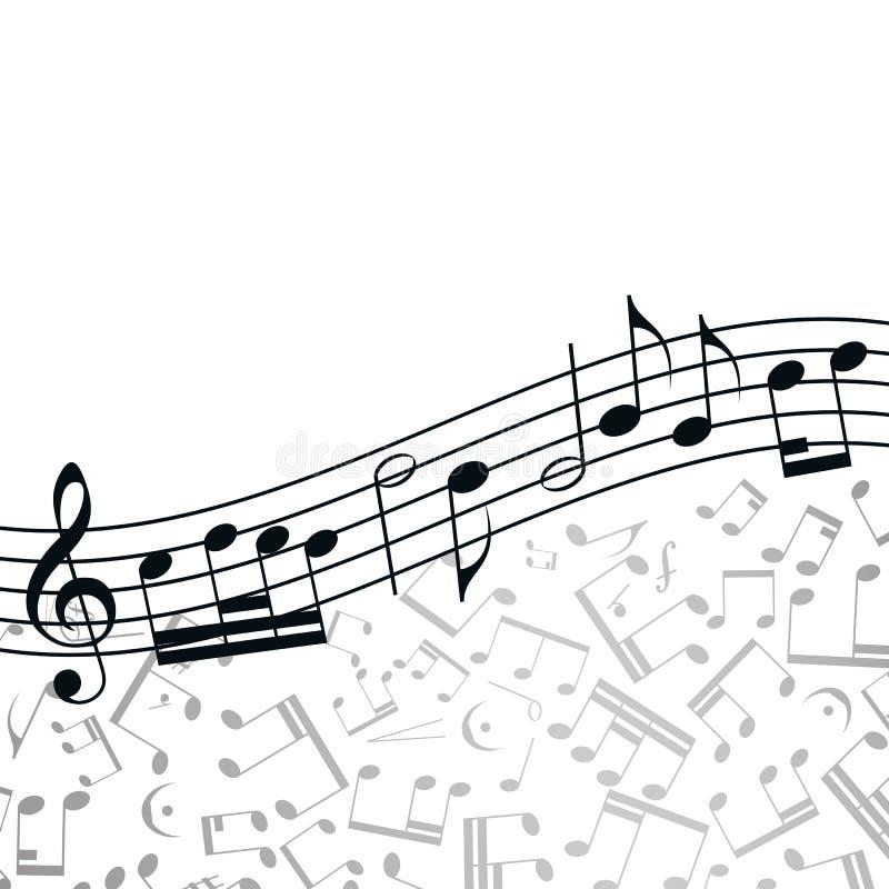 Fundo da música da onda do vetor: melodia, notas, chave ilustração royalty free