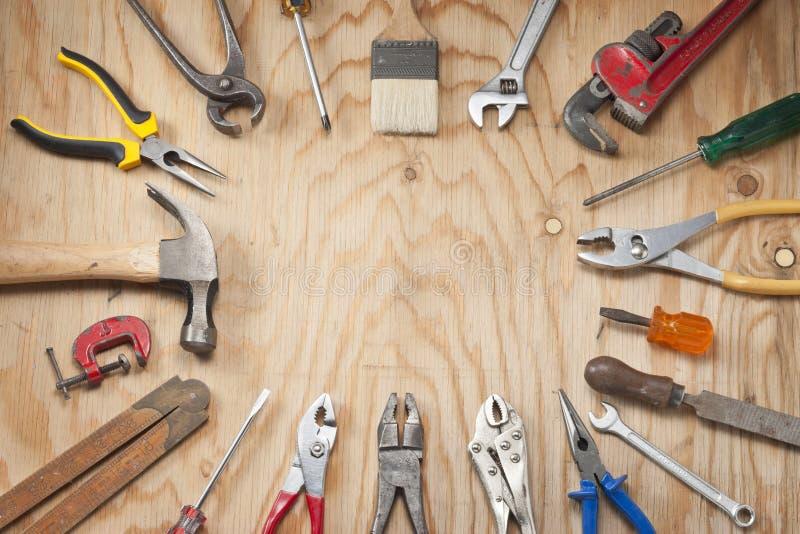 Fundo da madeira das ferramentas foto de stock