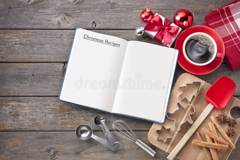 Fundo da madeira do cozimento da receita do Natal fotos de stock