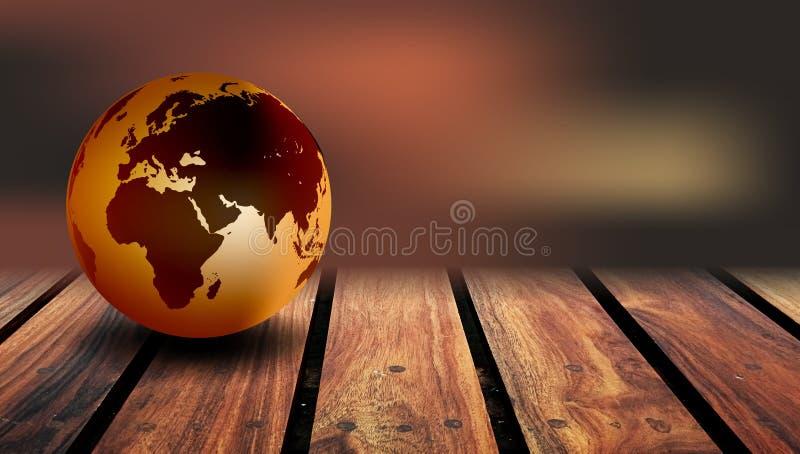 Fundo da madeira do globo do mundo Um globo do mundo em um fundo de madeira r?stico imagem de stock royalty free