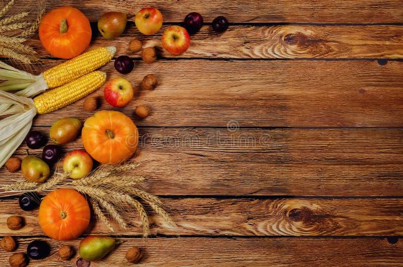 Fundo da madeira do vegetal e do fruto do outono fotos de stock royalty free