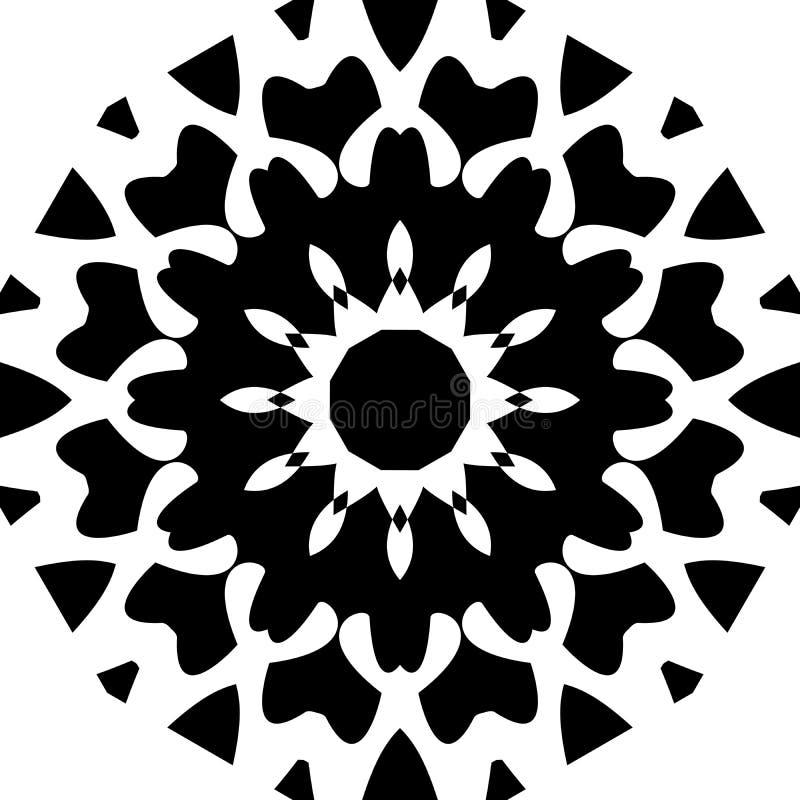 Fundo da mandala e projeto preto e branco do papel de parede ilustração do vetor