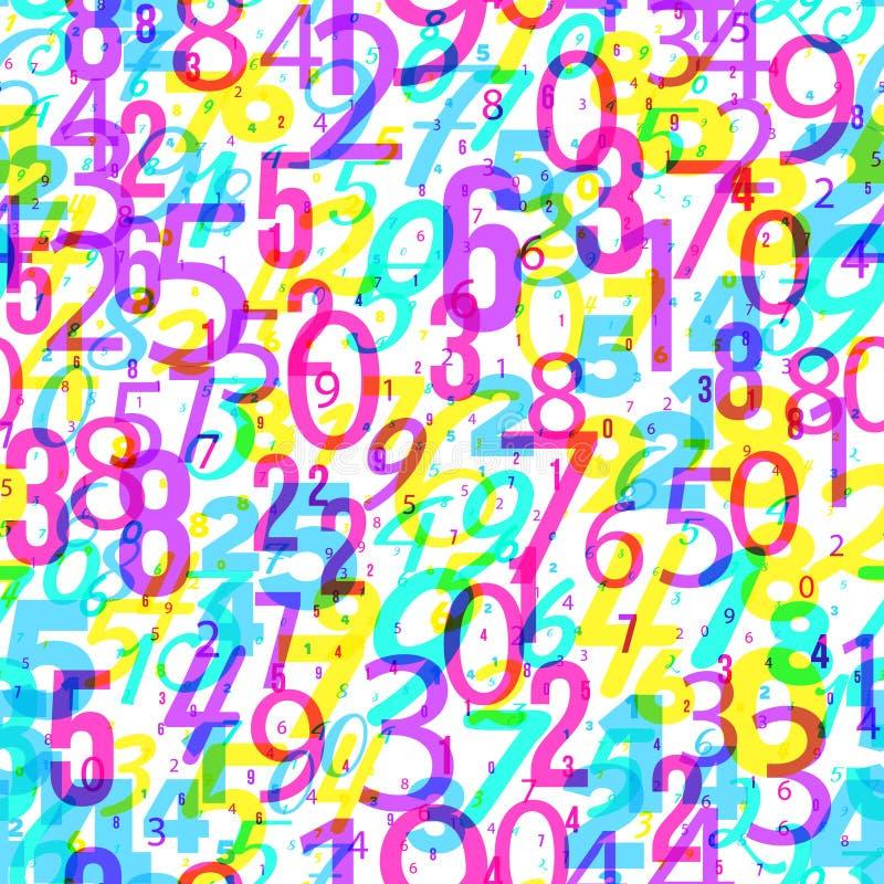 Fundo da matemática - números diferentes no teste padrão aleatório Teste padrão colorido da escola para crianças Fundo multicolor ilustração royalty free
