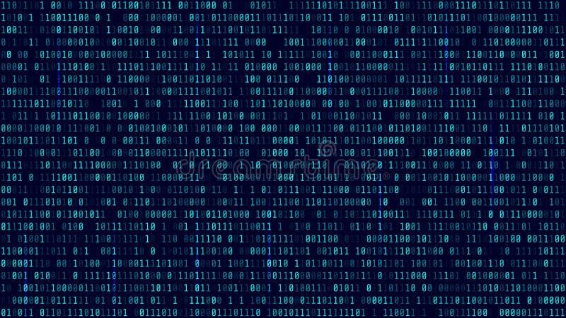 Fundo da matriz com luz azul Código de computador binário Vetor ilustração royalty free