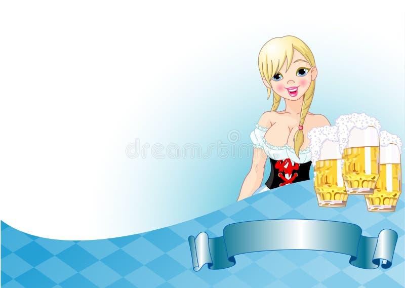 Fundo da menina de Oktoberfest ilustração stock