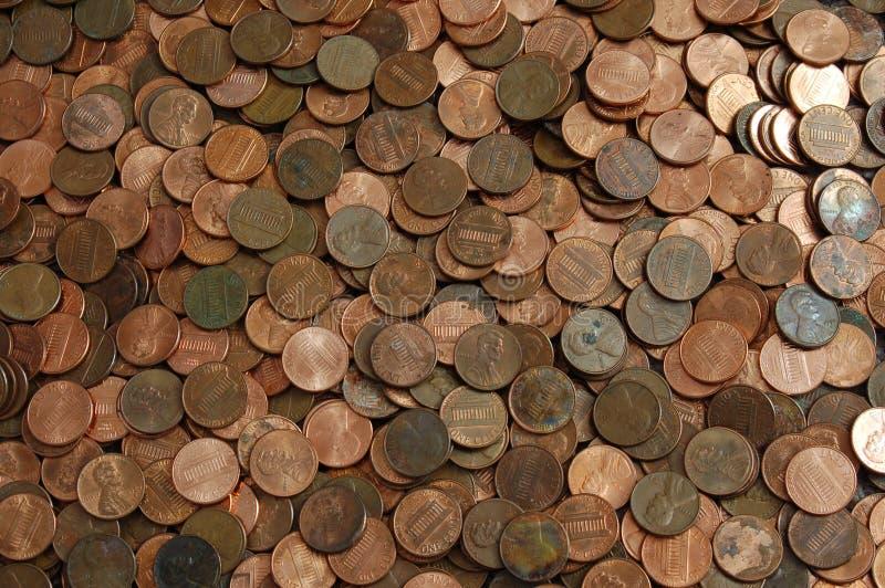 Fundo da moeda de um centavo imagens de stock royalty free