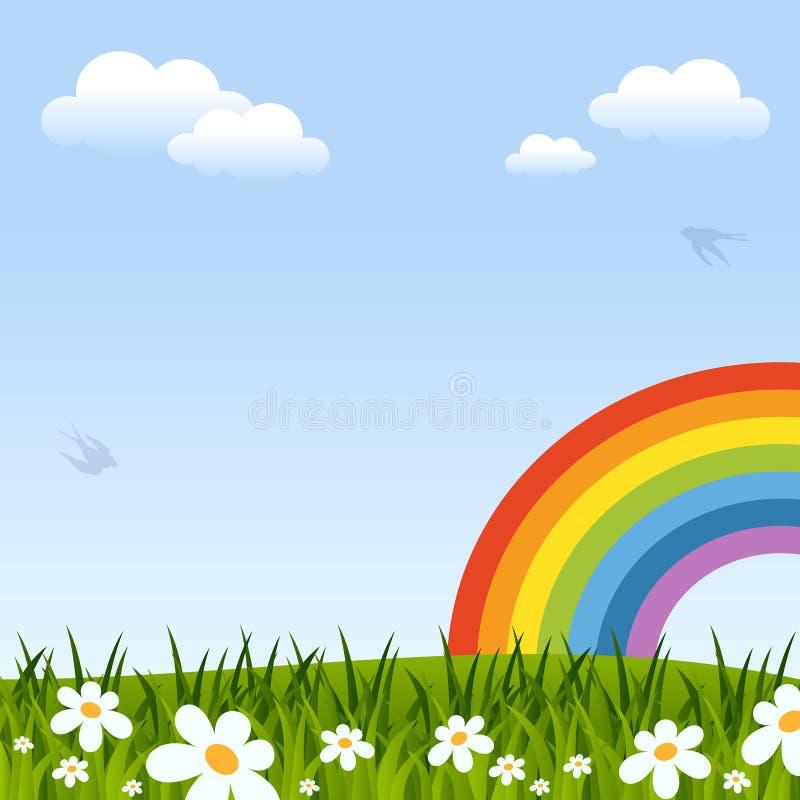 Fundo da mola com arco-íris ilustração royalty free