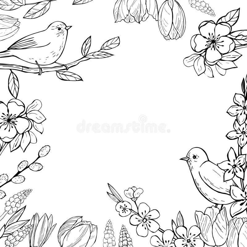 Fundo da mola com pássaros e flores ilustração do vetor