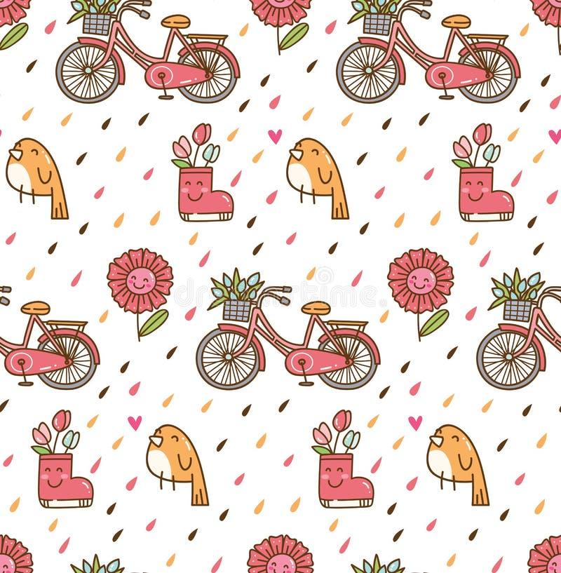 Fundo da mola de Kawaii com pássaro e bicicleta ilustração royalty free