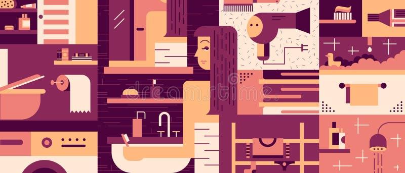 Fundo da mulher do banheiro liso ilustração royalty free