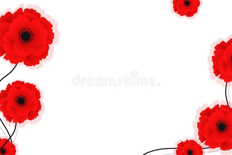 Fundo da natureza com as flores vermelhas das papoilas Ilustra??o do vetor Pode ser usado para a mat?ria t?xtil, os pap?is de par ilustração stock