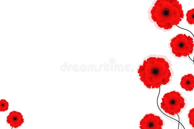 Fundo da natureza com as flores vermelhas das papoilas Ilustra??o do vetor Pode ser usado para a mat?ria t?xtil, os pap?is de par ilustração royalty free