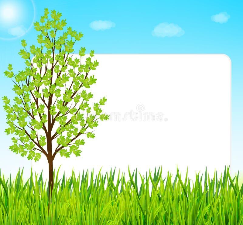 Fundo da natureza com grama verde, árvore e o céu azul ilustração royalty free