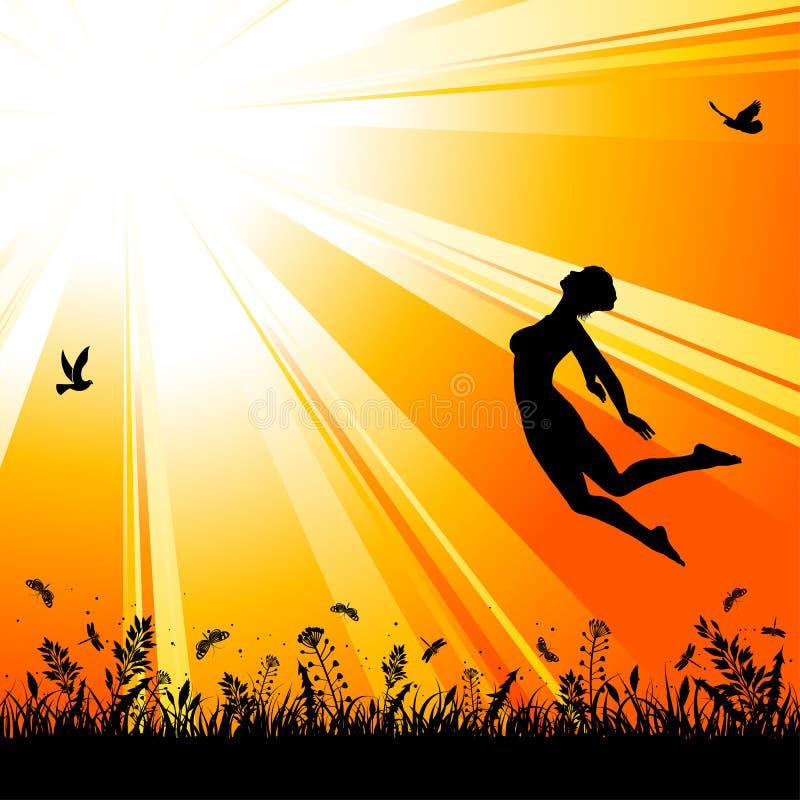Fundo da natureza com a menina de salto da silhueta ilustração royalty free
