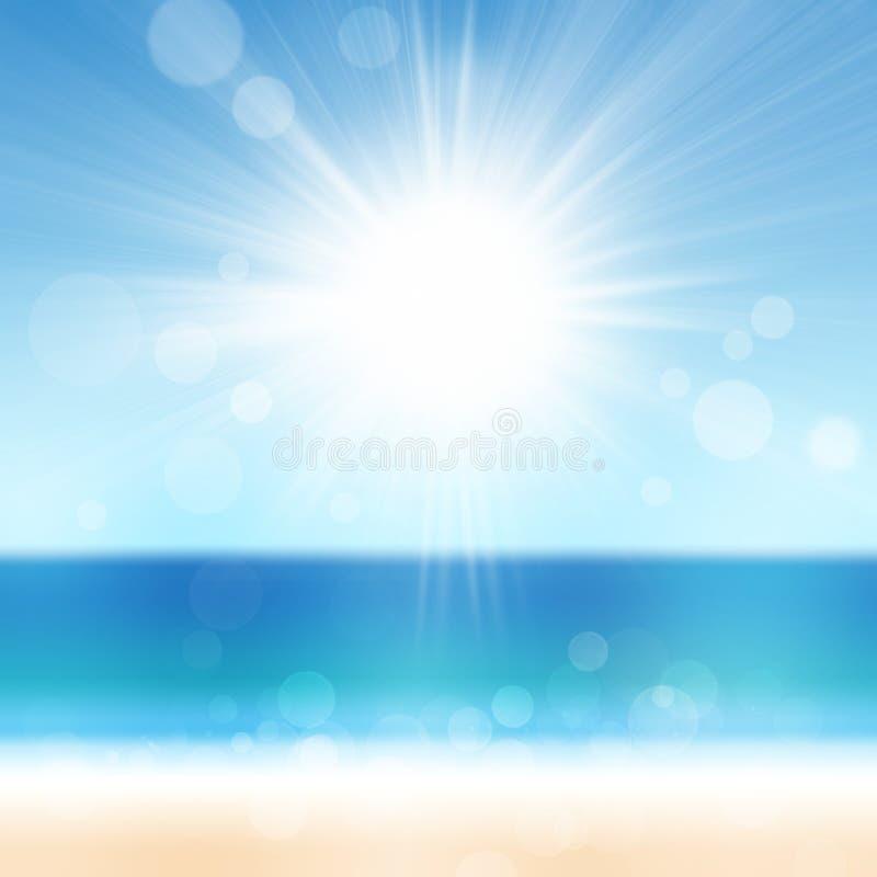 Fundo da natureza da praia do mar do oceano do verão com Sun imagem de stock royalty free