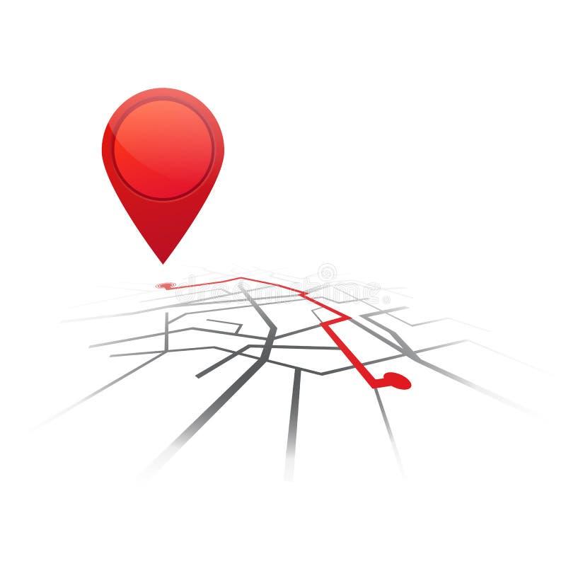 Fundo da navegação dos Gps Mapa de estradas isolado com ponteiro vermelho Vetor ilustração stock