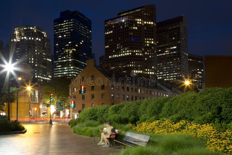 Fundo da noite de Boston da cidade fotos de stock royalty free