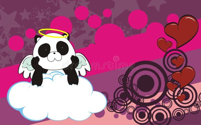 Fundo da nuvem dos desenhos animados do bebê do querubim do anjo do urso de panda ilustração do vetor