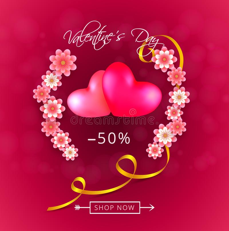 Fundo da oferta do presente da venda do dia de Valentim com dois corações e as flores cor-de-rosa do papel-corte ilustração stock