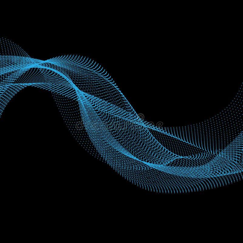 Fundo da onda ilustração abstrata do vetor estilo da tecnologia 3D Projeto de rede com partícula ilustração stock