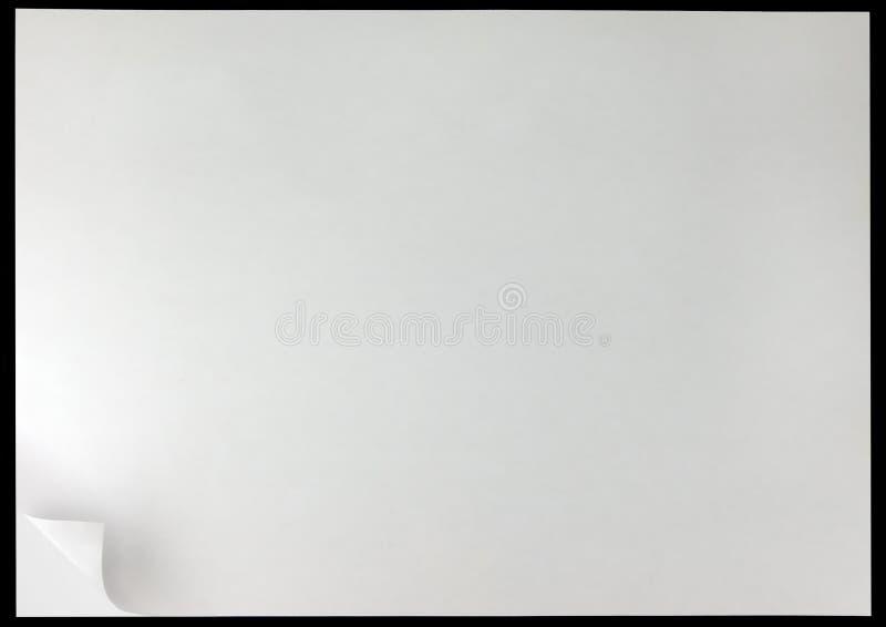 Fundo da onda da página branca, espaço vazio vazio da cópia isolado no preto, horizontal imagem de stock royalty free
