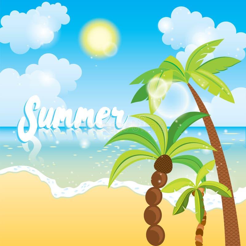 Fundo da opinião do mar das horas de verão Projeto azul do beira-mar do oceano e das palmeiras Praia bonita com palmeiras e sol I ilustração stock
