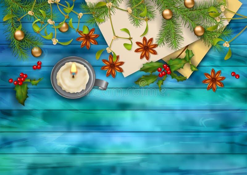 Fundo da opinião superior do vetor do Natal ilustração stock