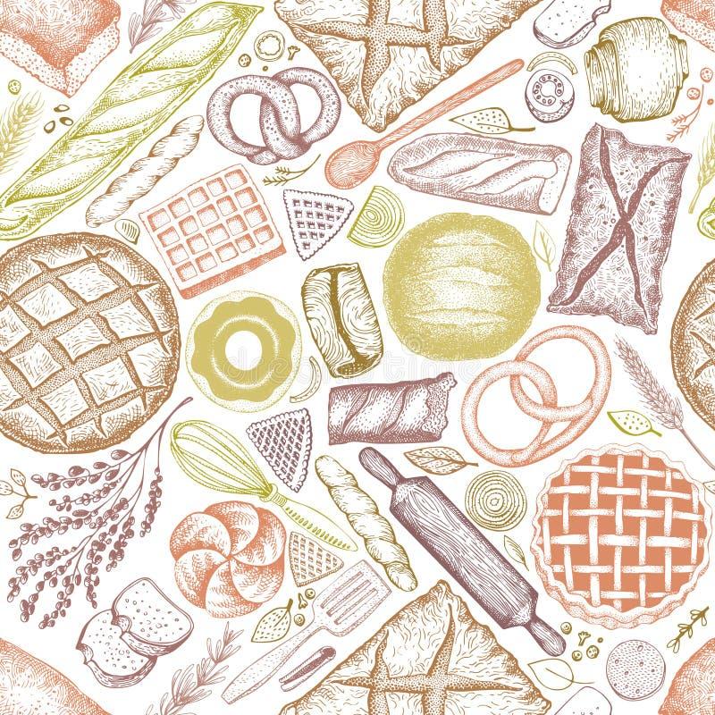 Fundo da opinião superior da padaria Entregue a vetor tirado o teste padrão sem emenda com pão e pastelaria Ilustração retro Pode ilustração do vetor