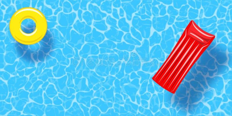 Fundo da opini?o superior da piscina Anel de borracha e jangada que flutuam na ?gua ilustração do vetor