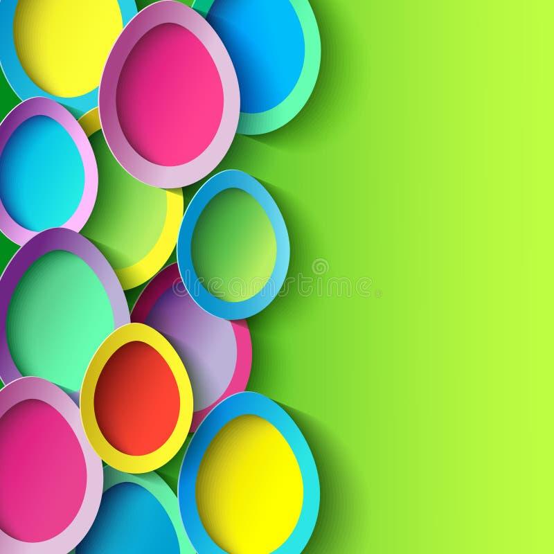 Fundo da Páscoa com o ovo da páscoa 3d colorido ilustração do vetor