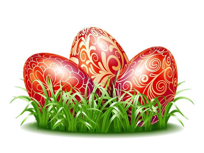 Fundo da Páscoa com os três ovos vermelhos na grama ilustração do vetor