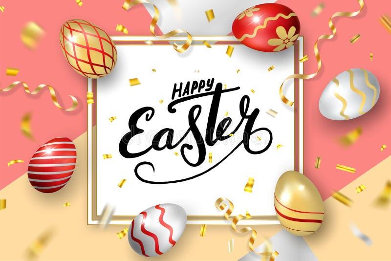 Fundo da Páscoa de Happe, rotulação, ovos Cumprimentando o cartão da Páscoa 3D Quadro da decoração do ouro, inscrição escrita à m ilustração stock