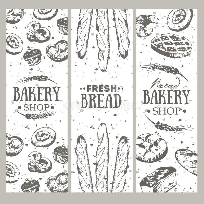 Fundo da padaria Coleção da bandeira do pão ilustração stock