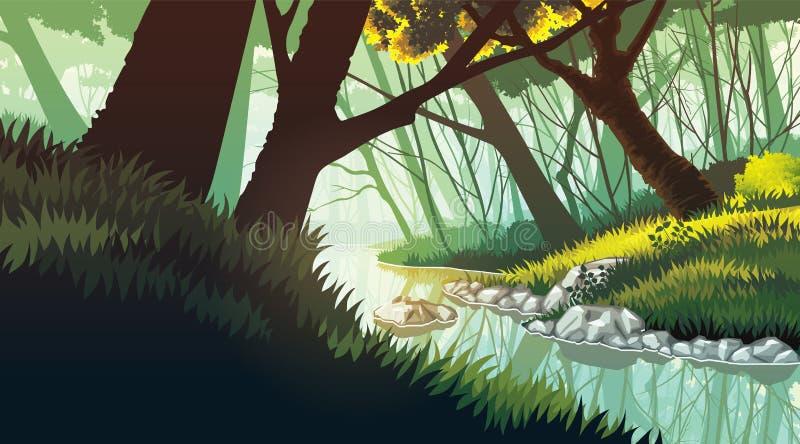 Fundo da paisagem com o lago na floresta ilustração stock