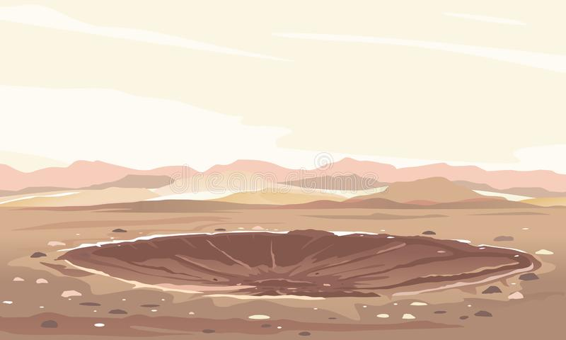 Fundo da paisagem da cratera do meteoro ilustração royalty free
