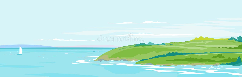 Fundo da paisagem do beira-mar dos montes verdes ilustração stock