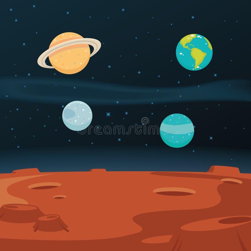Fundo da paisagem do espaço ilustração do vetor