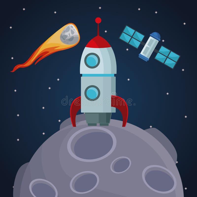 Fundo da paisagem do espaço de cor com o foguete sobre meteoro e satélite do planeta e do cosmos da vista ilustração royalty free