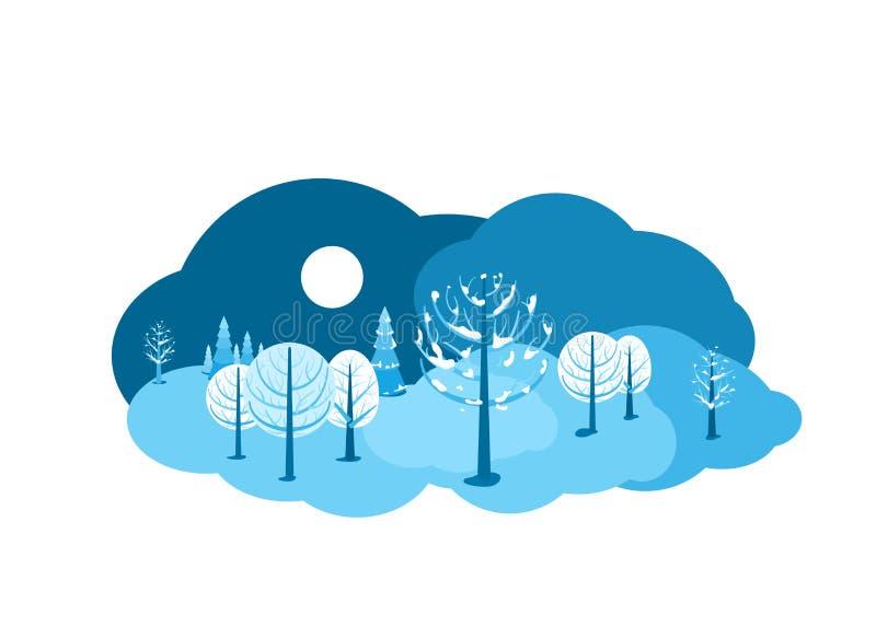 Fundo da paisagem do inverno Cena lisa da terra dos desenhos animados horizontais com céu escuro, árvores diferentes, neve, espru ilustração stock