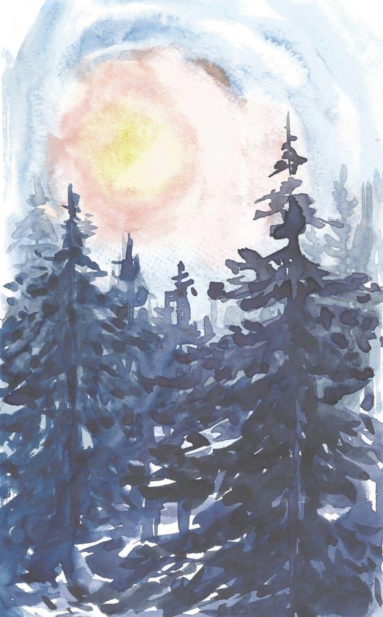 Fundo da paisagem do inverno Pintura da aquarela, imagem - floresta, natureza, árvore Pode ser usado como o logotipo, cartão ilustração stock