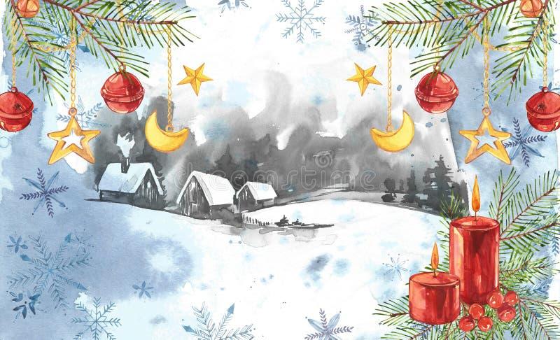 Fundo da paisagem do inverno Pintura da aquarela, imagem - floresta, natureza, árvore Pode ser usado como o logotipo, cartão ilustração do vetor