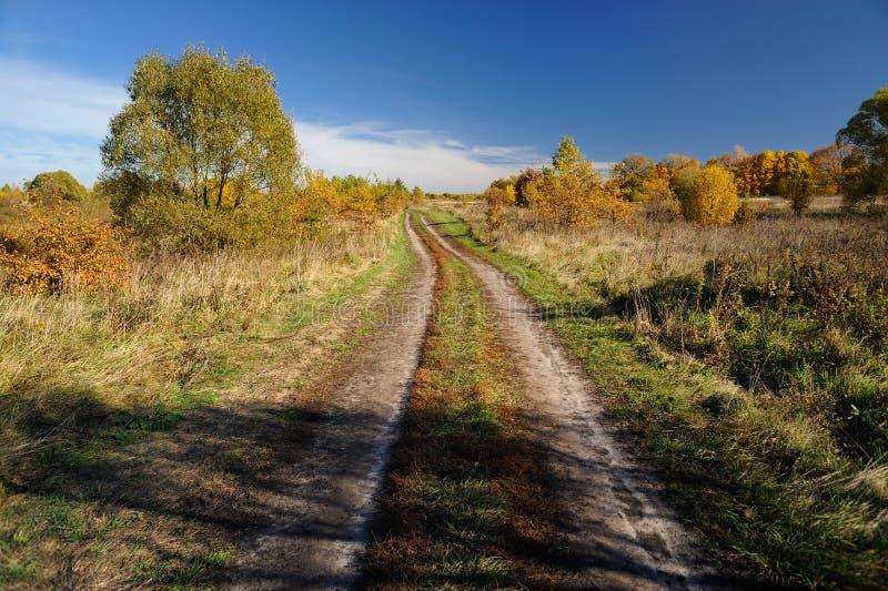 Fundo da paisagem do outono Estrada secundária vazia no dia ensolarado fotos de stock royalty free